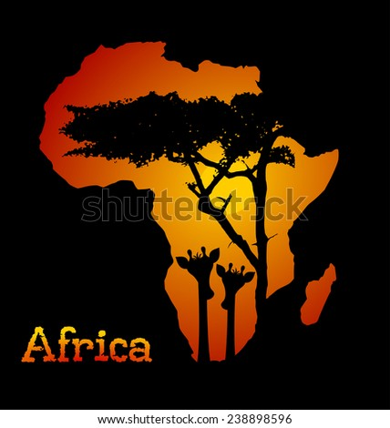 Africa continent - landscape design - orange sun, red sky, sunset and giraffe and tree silhouette. Space for your text, vector art image illustration, isolated on black background - stock vector