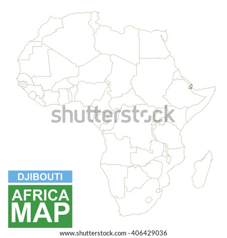 Africa contoured map with highlighted Djibouti. Djibouti map and flag on Africa map. Vector Illustration. - stock vector