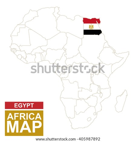 Africa contoured map with highlighted Egypt. Egypt map and flag on Africa map. Vector Illustration. - stock vector