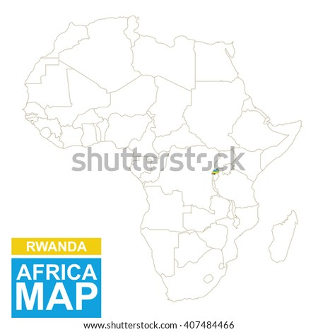 Africa contoured map with highlighted Rwanda. Rwanda map and flag on Africa map. Vector Illustration. - stock vector