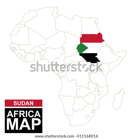 Africa contoured map with highlighted Sudan. Sudan map and flag on Africa map. Vector Illustration. - stock vector