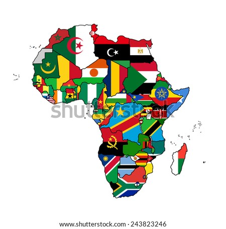 Africa Flag Map All countries of Africa colored in with their flag.