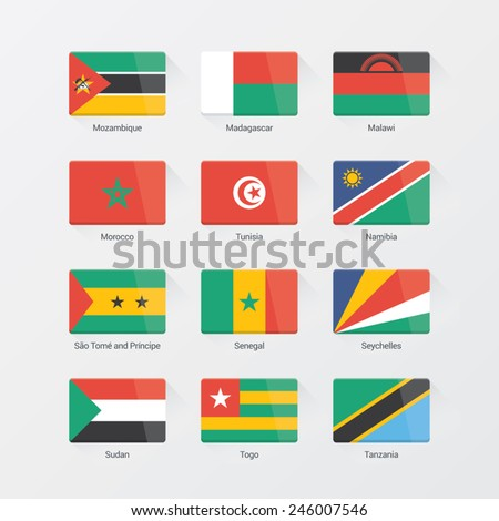Africa flag set. Flat design
