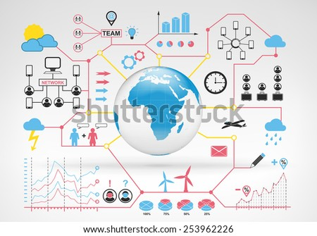 Africa globe map with blue red info graphic icons and graphs around vector background for web and media design collection illustration - stock vector