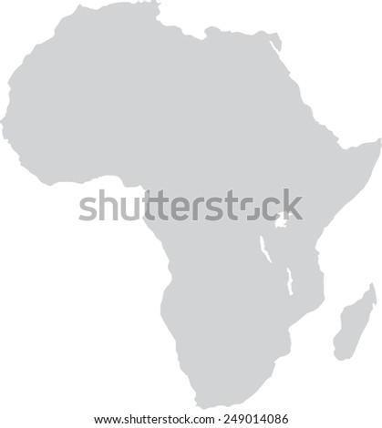 Africa gray map, isolated on white background, vector - stock vector