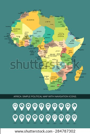 Africa. Highly detailed and editable simple political map. The map includes only separated layers of continent states and capitals names, without water resources and islands.  - stock vector