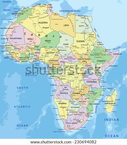 Africa - Highly detailed editable political map with separated layers.