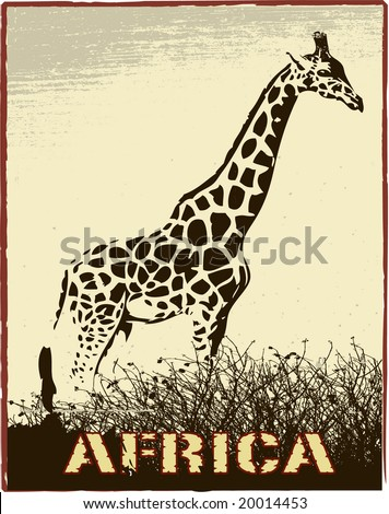Africa image with giraffe silhouette - stock vector
