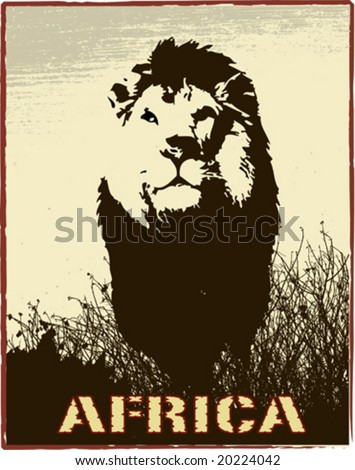 Africa image with lion silhouette - vector - stock vector