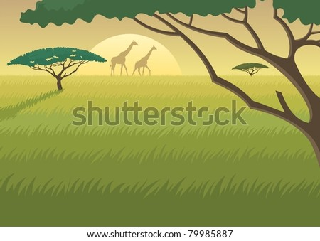 "Africa Landscape"" Landscape of the African Savannah at dusk/dawn.   No transparency used. A4 proportions. You can extend the last grass layer downwards and use it to fit as much text as you like. - stock vector"