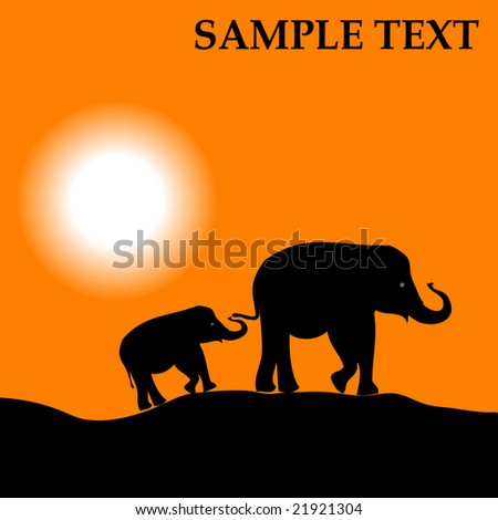 Africa landscape with sunset and elephant vector background - stock vector
