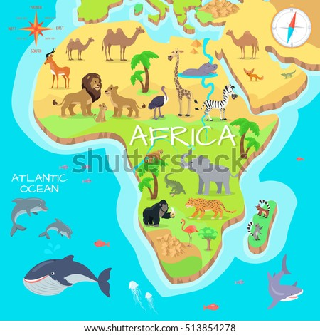 Africa Mainland Cartoon Map Local Fauna Stock Vector 2018