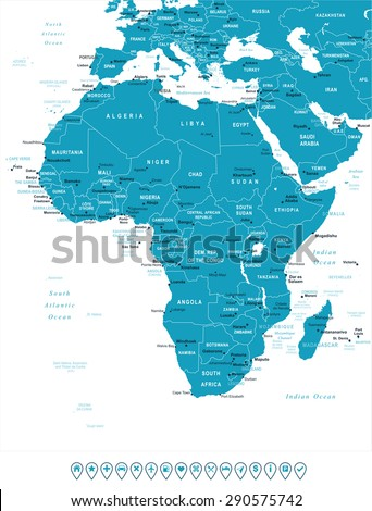 Africa - map and navigation labels - illustration - stock vector