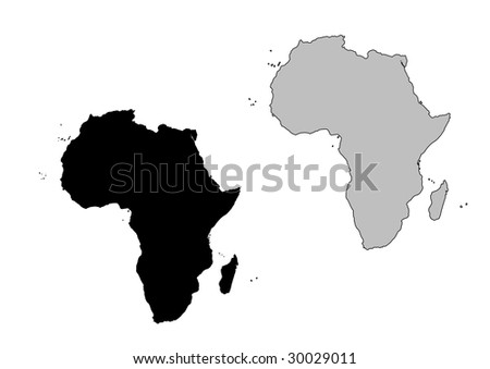 Africa map. Black and white. Mercator projection. - stock vector