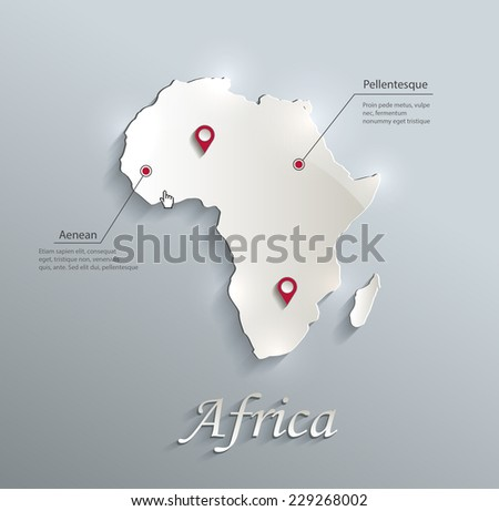 Africa map blue white card paper 3D vector infographics - stock vector