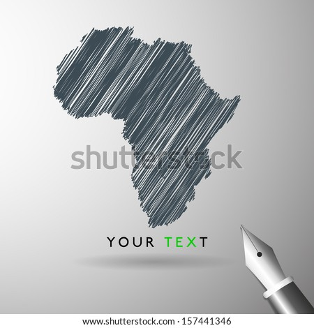 Africa map icon sketch in vector format - stock vector