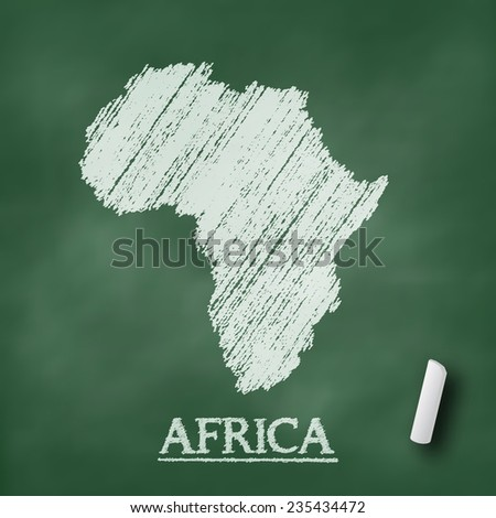 Africa map on chalkboard green in vector format - stock vector