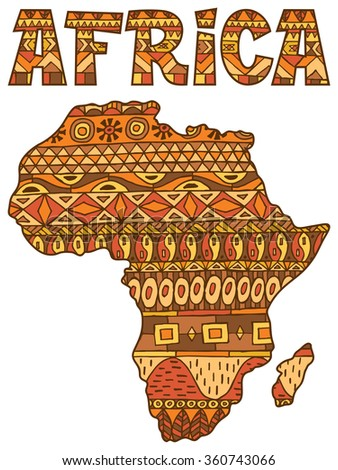 Africa Map Pattern: Africa abstract map over white background. - stock vector
