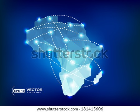 Africa map polygonal with spot lights places - stock vector