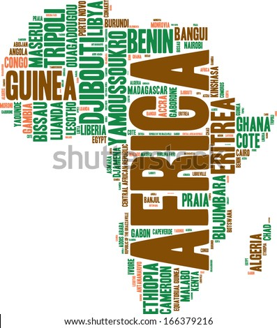 Africa map tag cloud vector illustration - stock vector