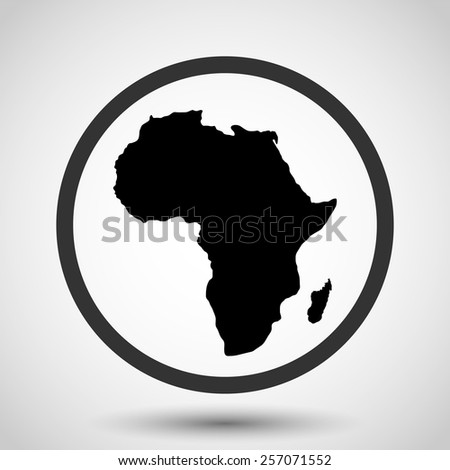 Africa map vector icon - black illustration - stock vector