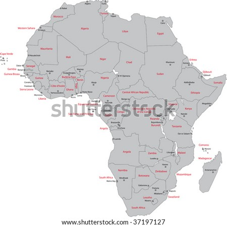 Africa map with countries and capital cities - stock vector
