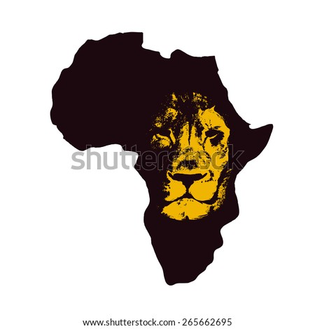 africa map with lion face