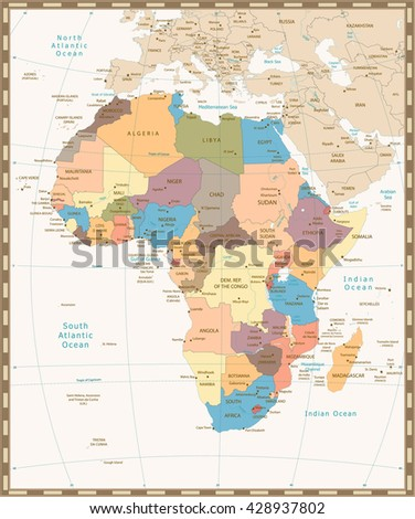 Africa old retro map with separated layers. - stock vector