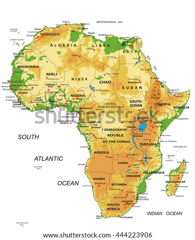 Africa-physical map - stock vector
