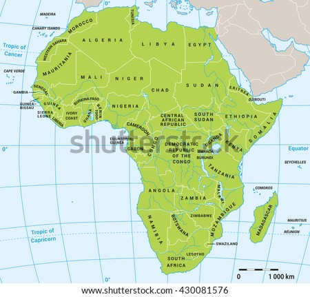 Africa political map with actual state borders 2016 with water layer. Background for your infographics. All data are in layers for easy editing vector map. - stock vector