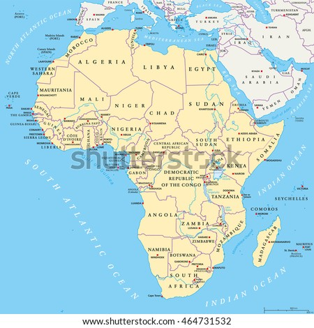 Africa Political Map Capitals National Borders Stock Vector