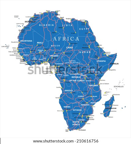 Africa road map - stock vector