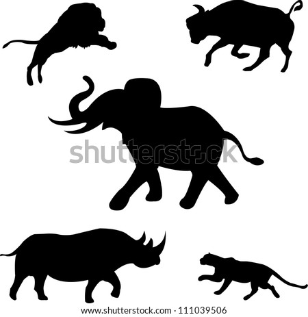 Africa's five wild beasts: elephant, rhino, buffalo, lion, leopard - stock vector