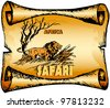 Africa, safari, lion, acacia. Vector picture for the poster. EPS 10 - stock photo