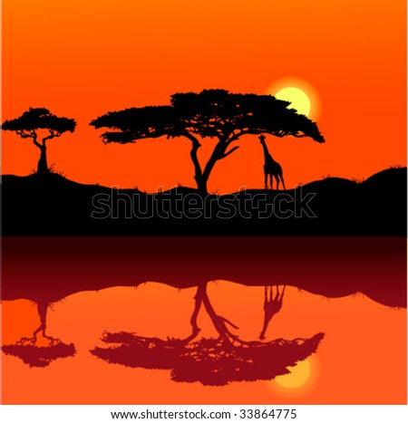 africa sunset background - stock vector
