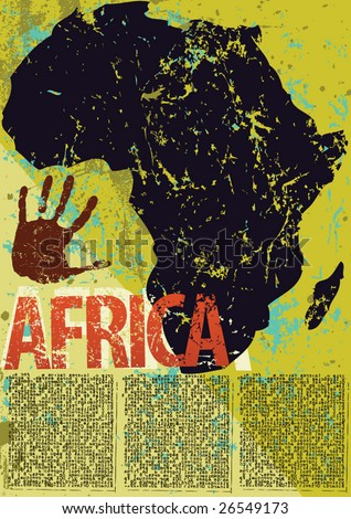 Africa themed layout in a grunge style in vector format