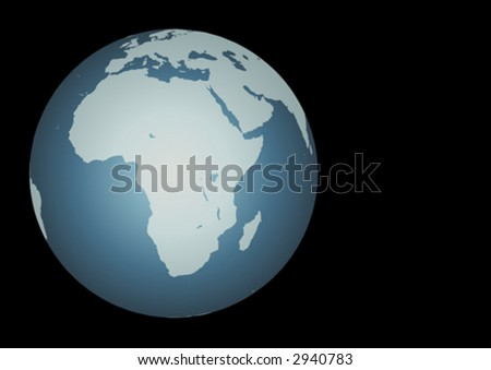 Africa (Vector). Accurate map of Africa. Mapped onto a globe. Includes the large lakes, Madagascar. Europe and Middle East to the North.