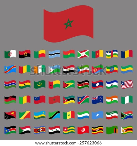 Africa, waving Vector flag collection part 5/6 - stock vector