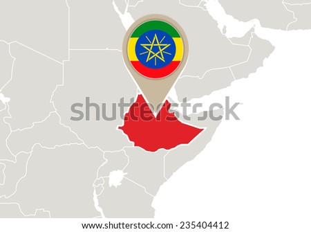 Africa with highlighted Ethiopia map and flag - stock vector