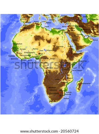 Africa with Near East. Physical vector map, colored according to elevation, with rivers and selected cities. Surrounding territory greyed out. 34 layers, fully editable. - stock vector