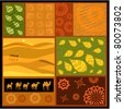 African abstract ornament with camels - stock vector