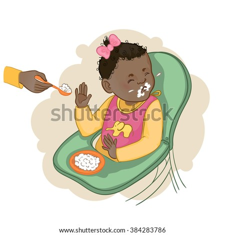African american baby girl sitting in the baby chair refuses to eat pap, vector image, eps10