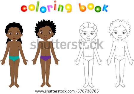 african american boy and girl unclothed educational coloring book for kids body parts - African American Coloring Books