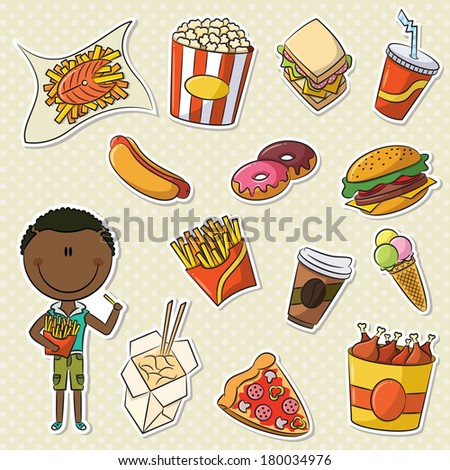 African-American Boys With Take Away Junk Food - stock vector