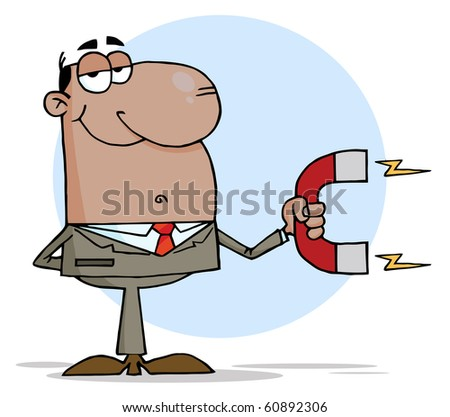 African American Business man Using A Magnet - stock vector