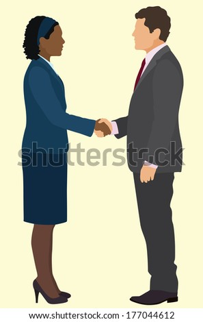 African American business woman and White business man shaking hands in business suits - stock vector