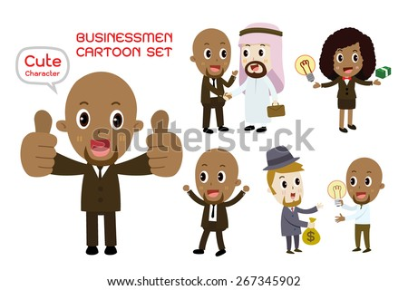 african american  businessmen and african american businesswomen cartoon character set vector