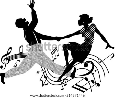 African-American couple dancing swing or rock and roll, black and white vector