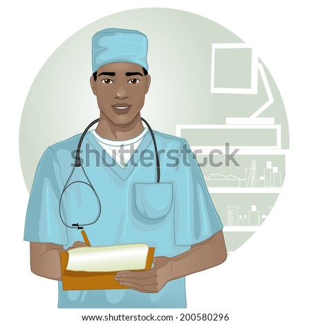 African american doctor with stethoscope who writes notes - stock vector