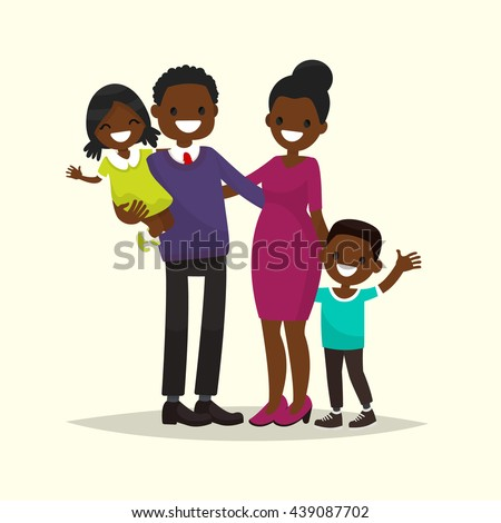 African American family. Father, mother, son and daughter. Vector illustration of a flat design - stock vector